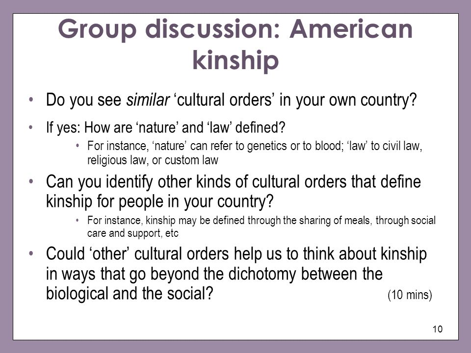 Group discussion: American kinship
