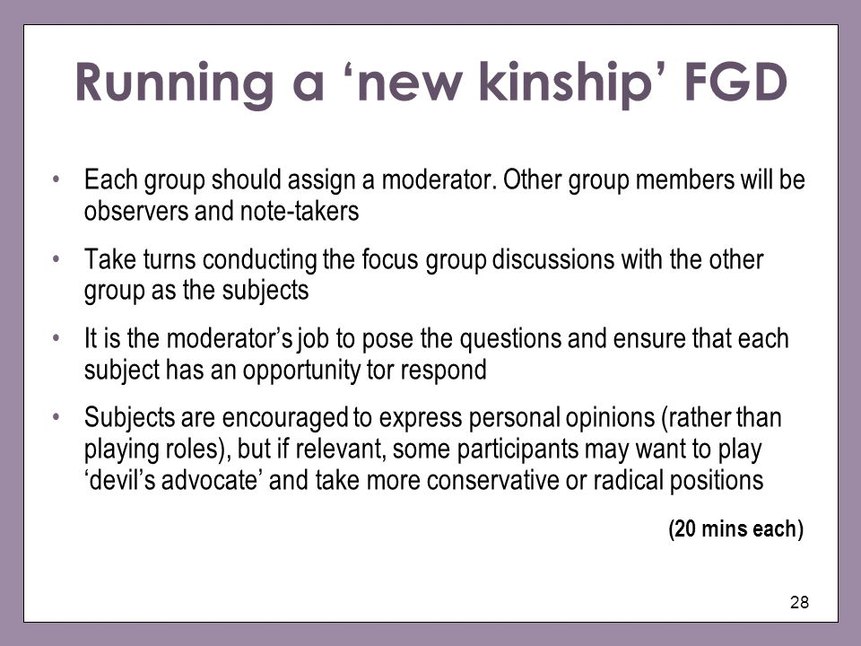 Running a 'new kinship' FGD