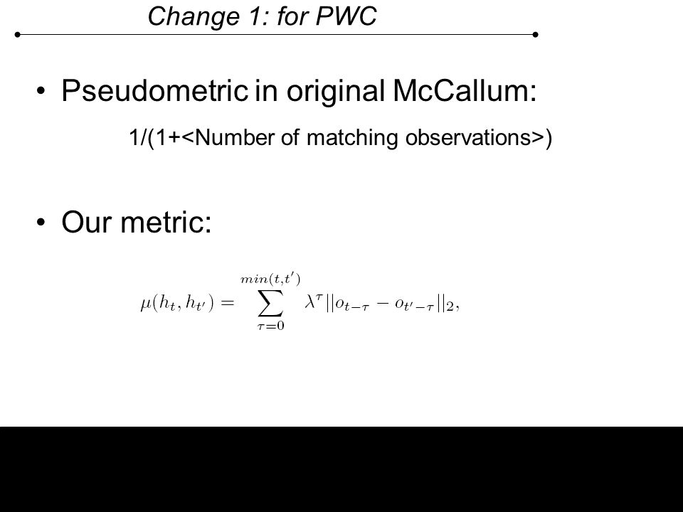 Pseudometric in original McCallum:
