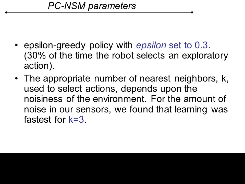 PC-NSM parameters epsilon-greedy policy with epsilon set to 0.3. (30% of the time the robot selects an exploratory action).