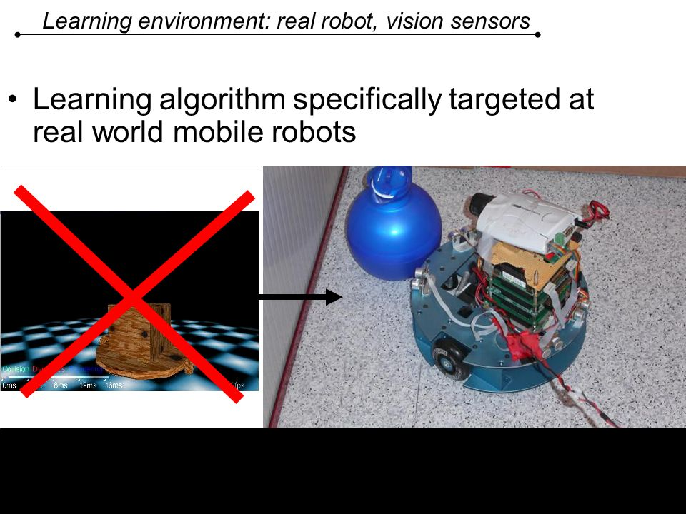 Learning environment: real robot, vision sensors