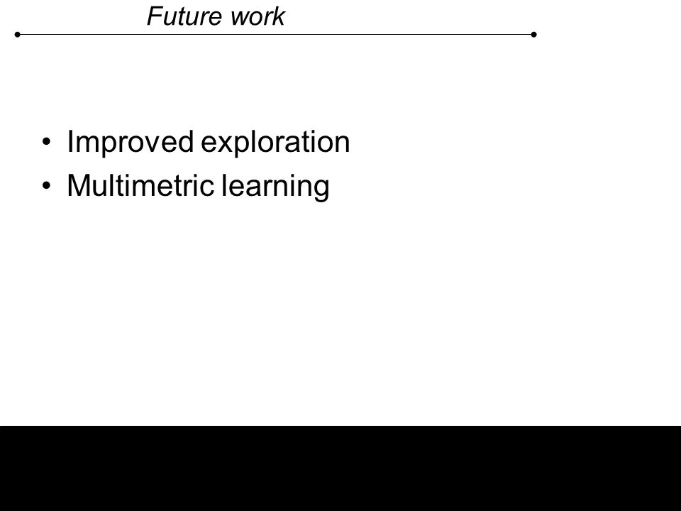Future work Improved exploration Multimetric learning