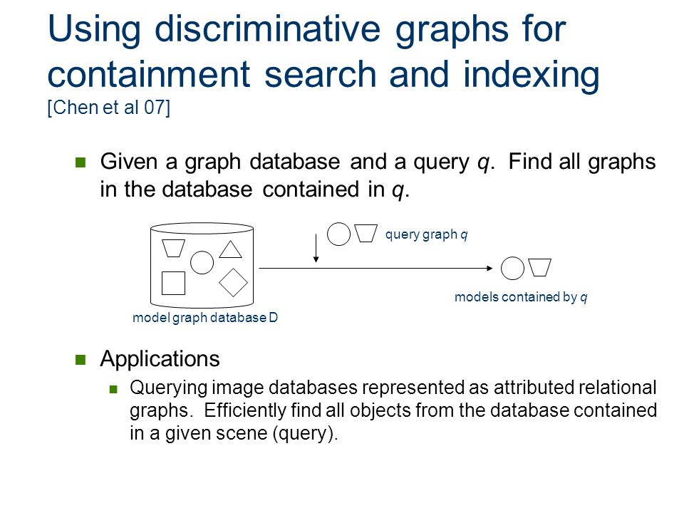 Using discriminative graphs for containment search and indexing [Chen et al 07]