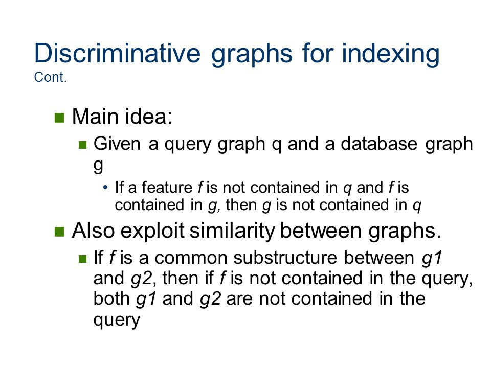 Discriminative graphs for indexing Cont.