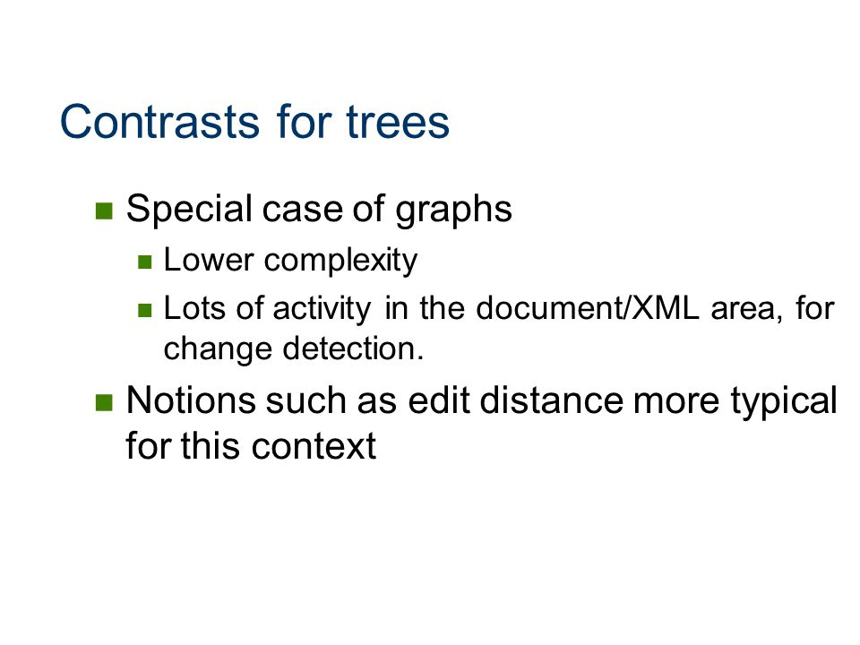 Contrasts for trees Special case of graphs