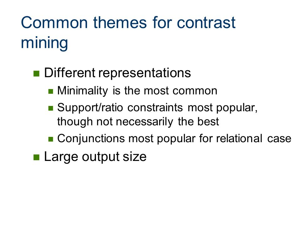 Common themes for contrast mining