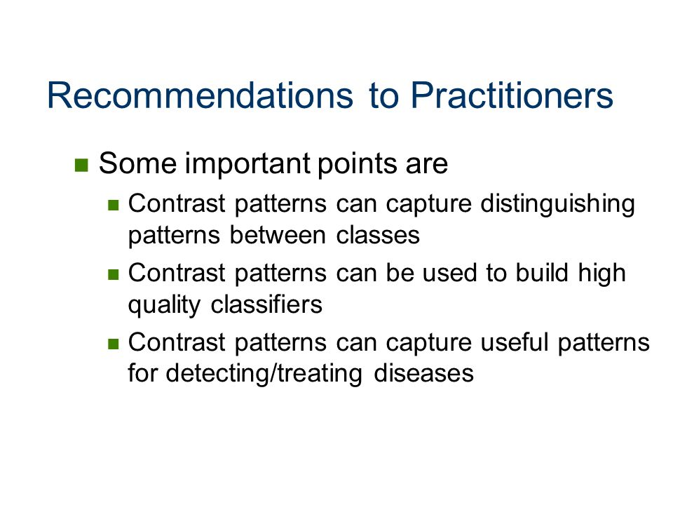 Recommendations to Practitioners