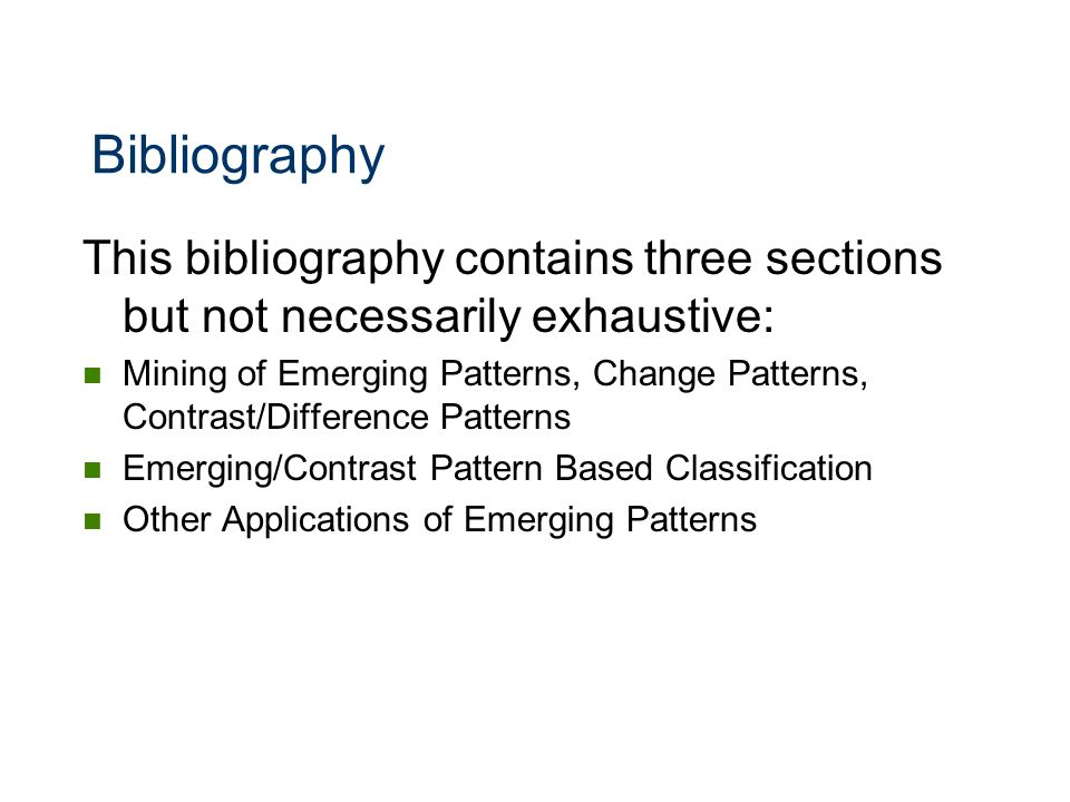 Bibliography This bibliography contains three sections but not necessarily exhaustive: