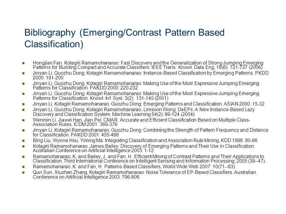 Bibliography (Emerging/Contrast Pattern Based Classification)