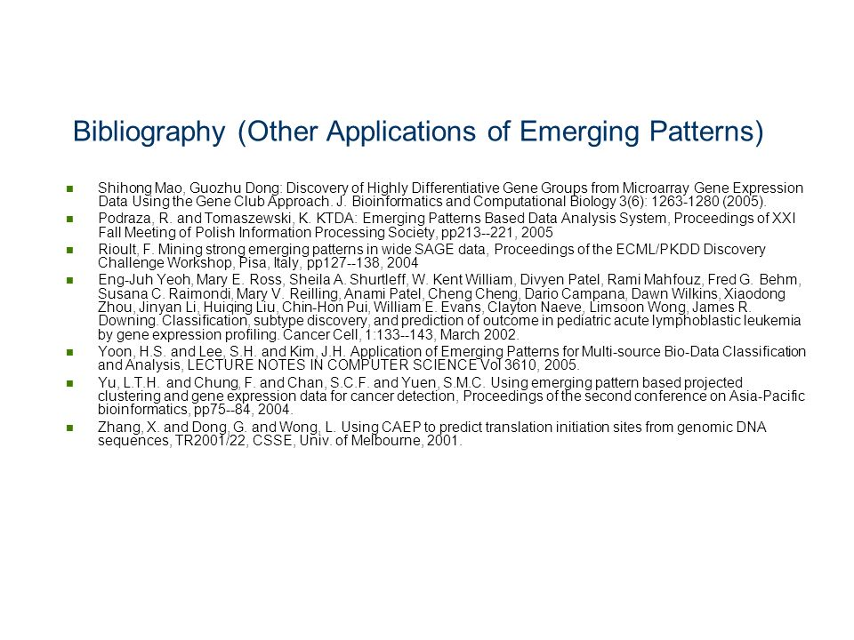 Bibliography (Other Applications of Emerging Patterns)
