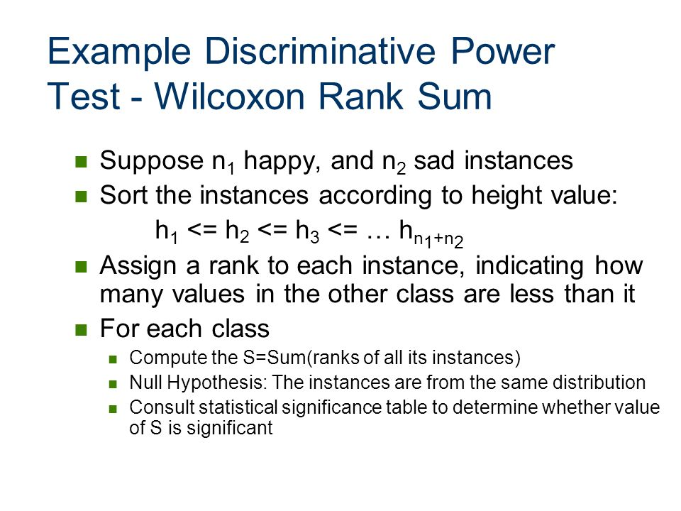 Example Discriminative Power Test - Wilcoxon Rank Sum