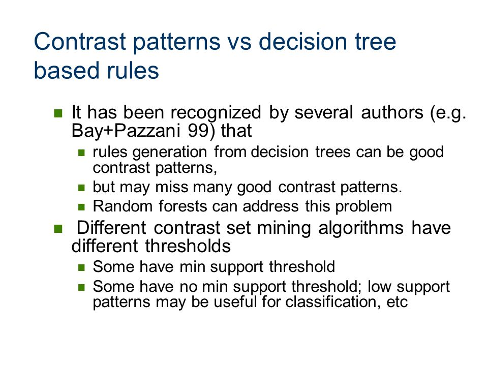 Contrast patterns vs decision tree based rules