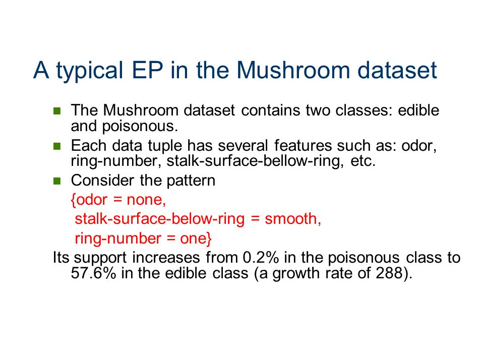 A typical EP in the Mushroom dataset