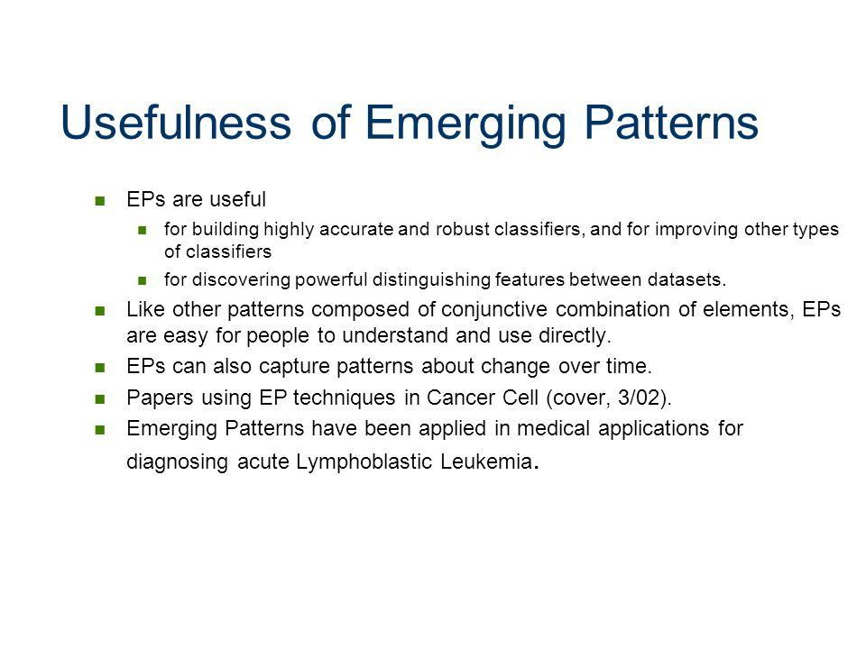 Usefulness of Emerging Patterns