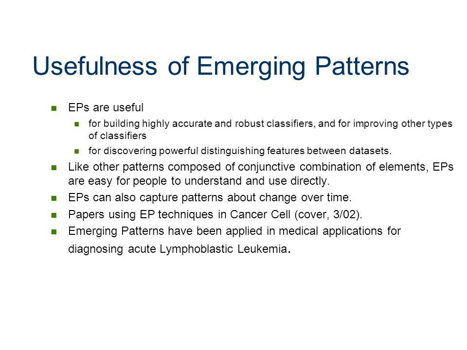 Usefulness of Emerging Patterns