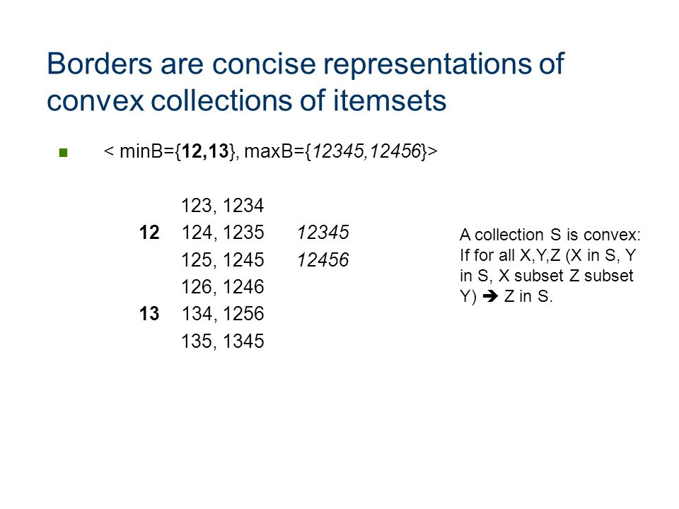 Borders are concise representations of convex collections of itemsets