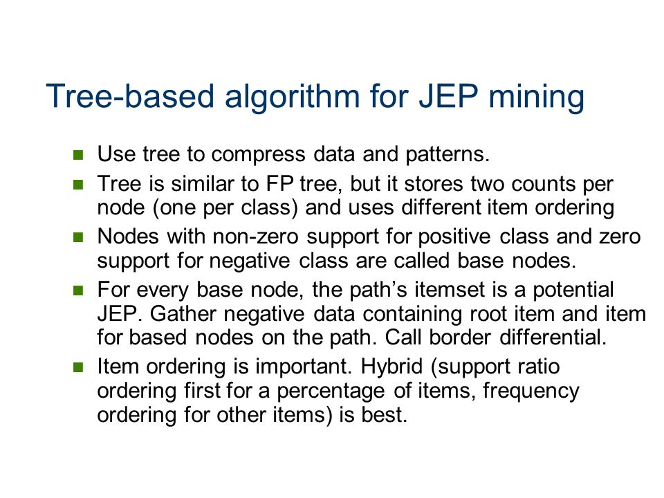Tree-based algorithm for JEP mining
