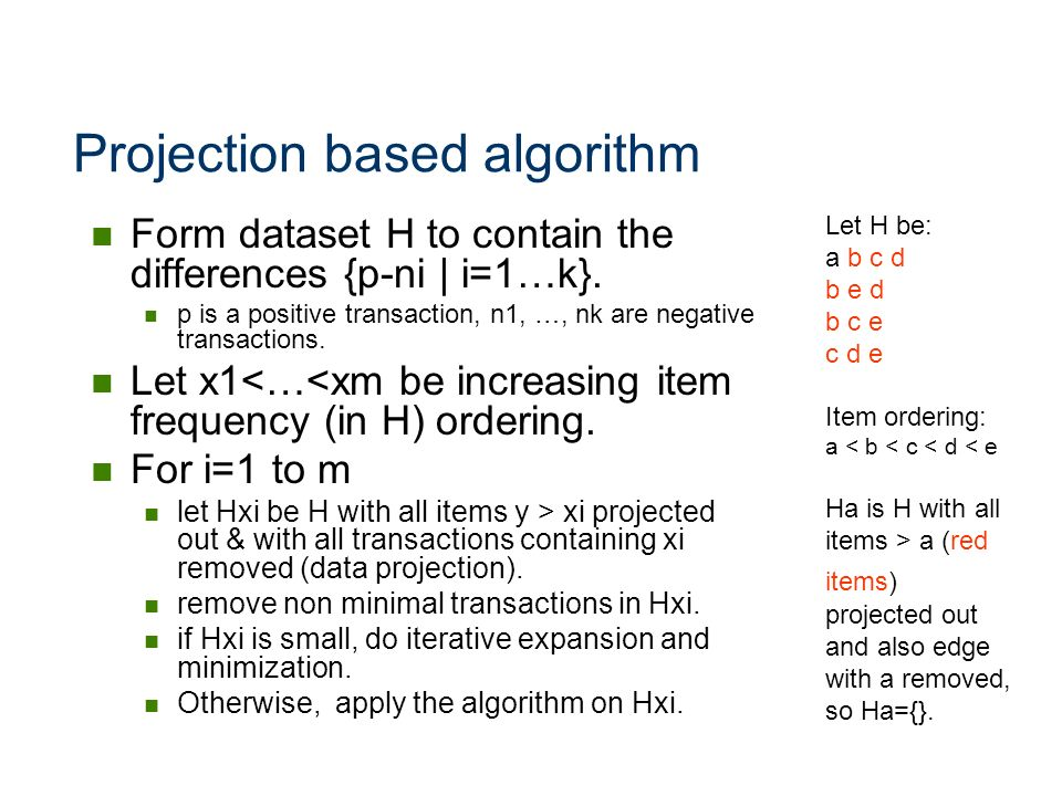 Projection based algorithm