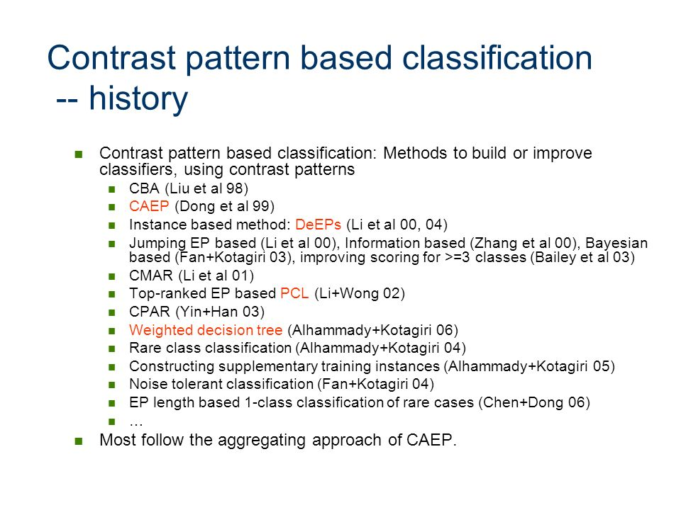 Contrast pattern based classification -- history
