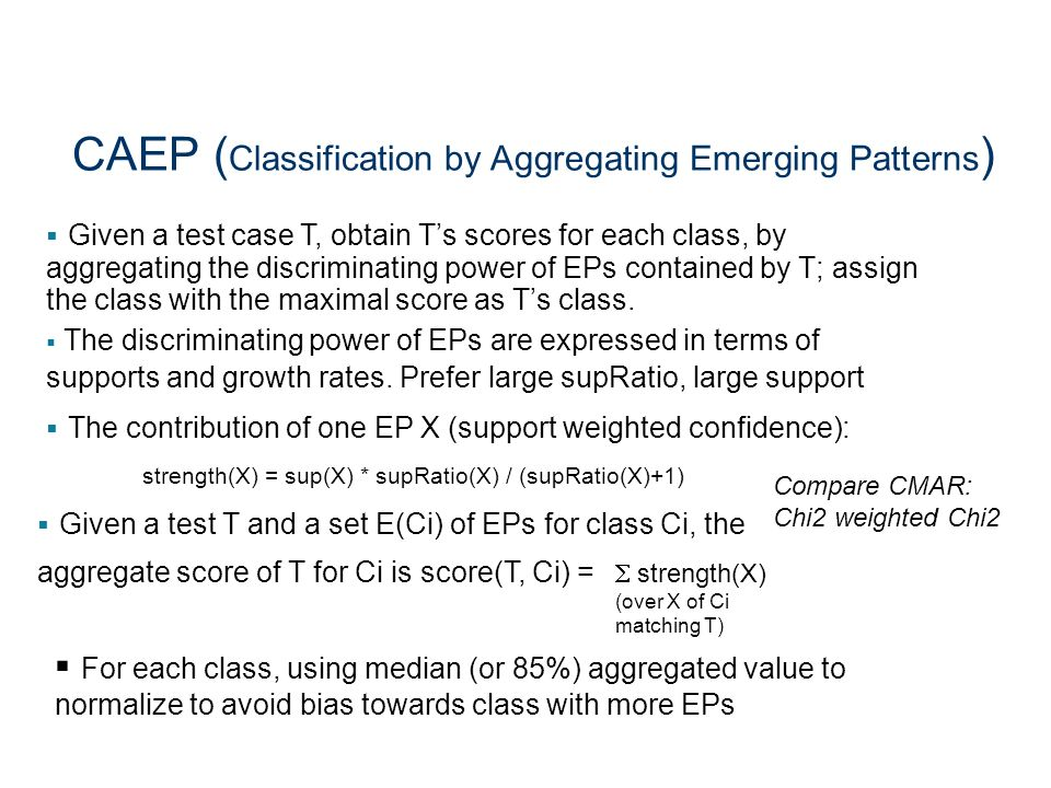 CAEP (Classification by Aggregating Emerging Patterns)