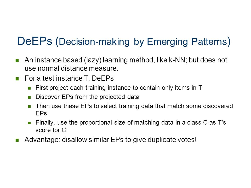 DeEPs (Decision-making by Emerging Patterns)