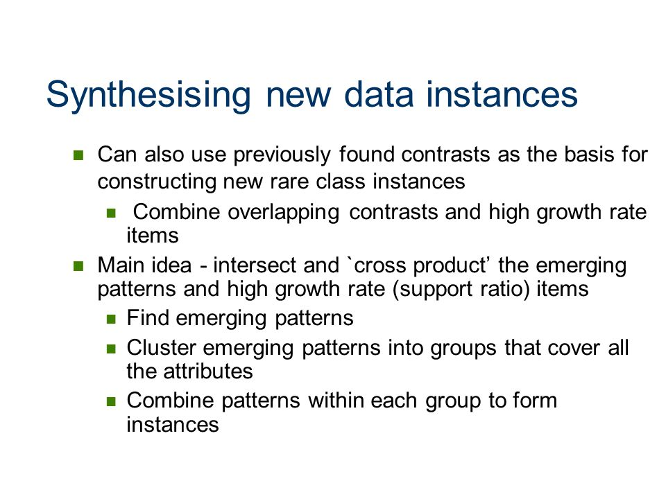 Synthesising new data instances