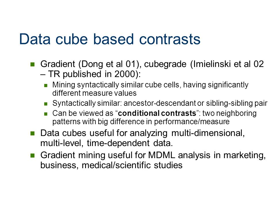 Data cube based contrasts