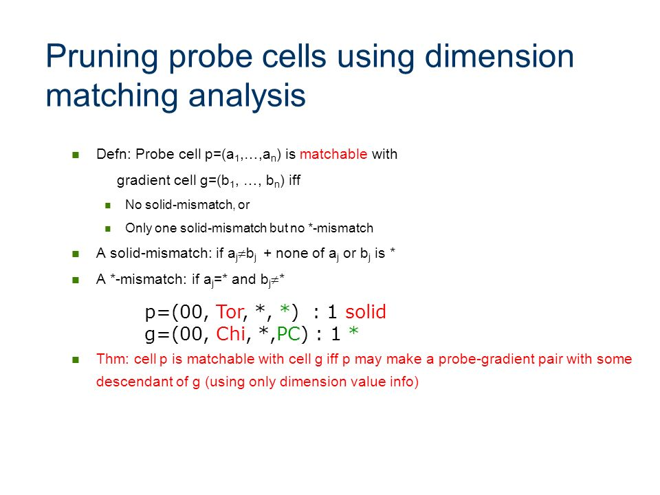 Pruning probe cells using dimension matching analysis