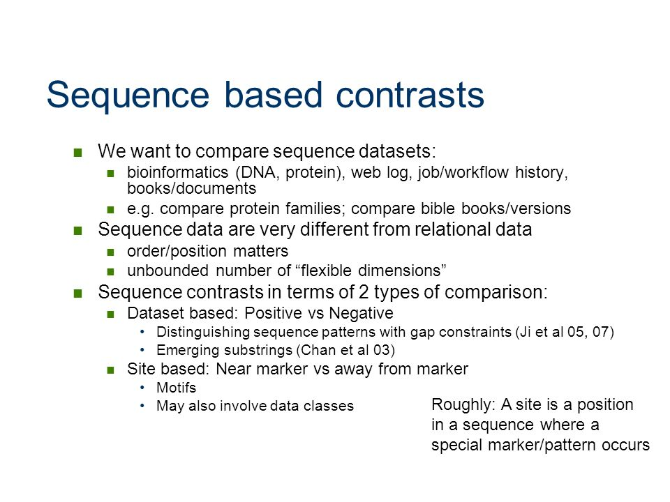 Sequence based contrasts