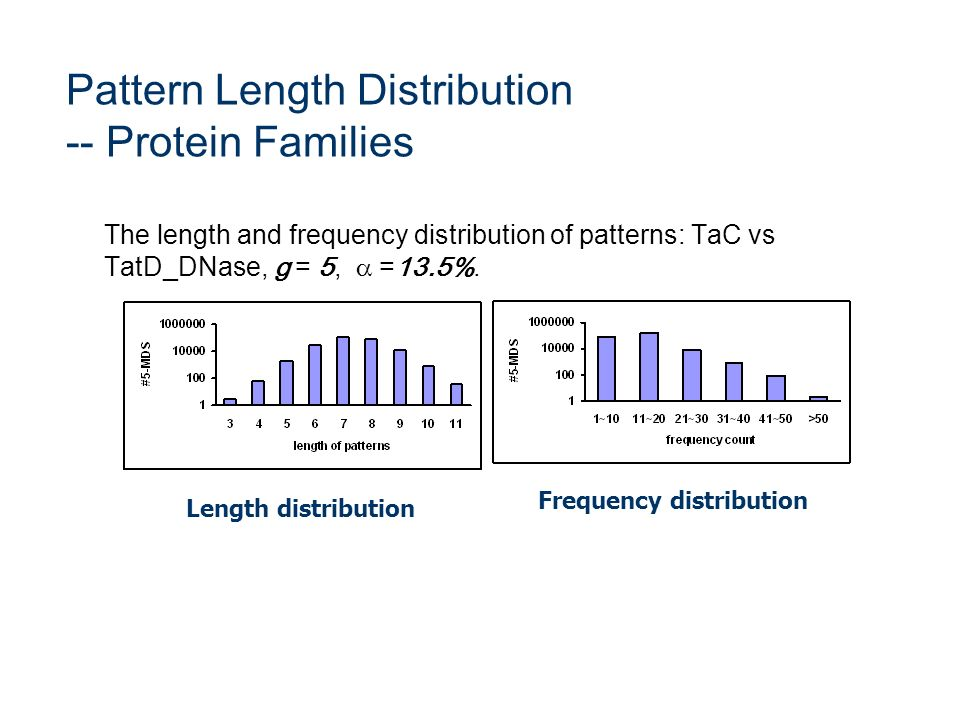 Pattern Length Distribution -- Protein Families