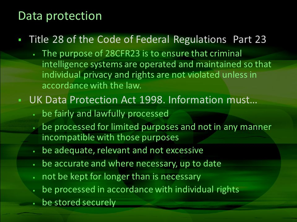 Data protection Title 28 of the Code of Federal Regulations Part 23