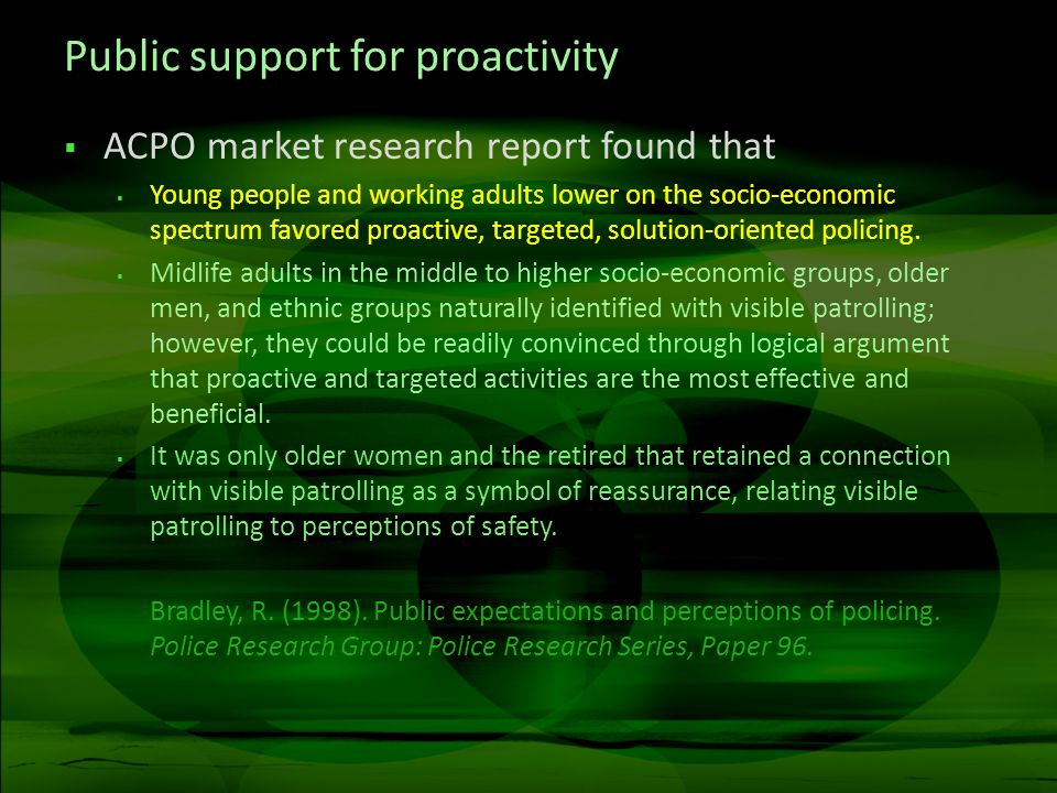 Public support for proactivity