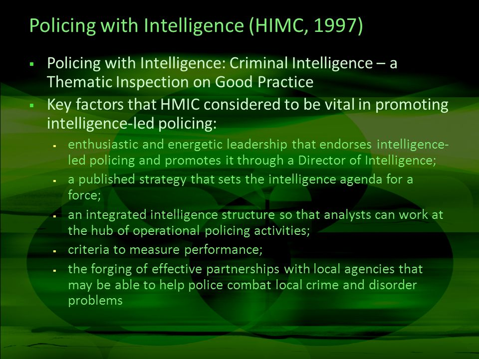 Policing with Intelligence (HIMC, 1997)