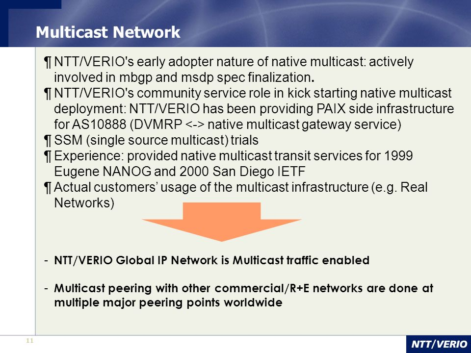 Multicast Network NTT/VERIO s early adopter nature of native multicast: actively involved in mbgp and msdp spec finalization.