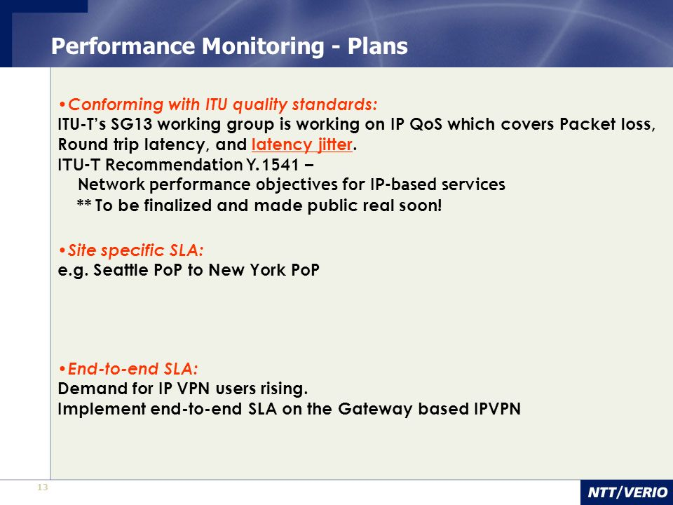 Performance Monitoring - Plans