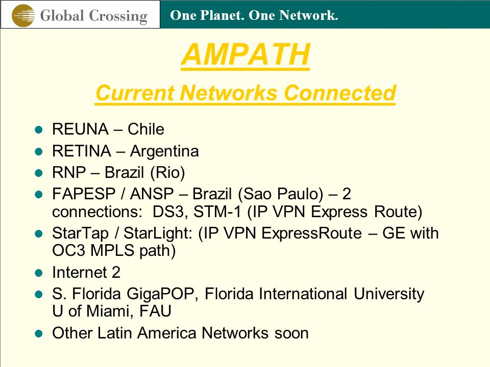 AMPATH Current Networks Connected