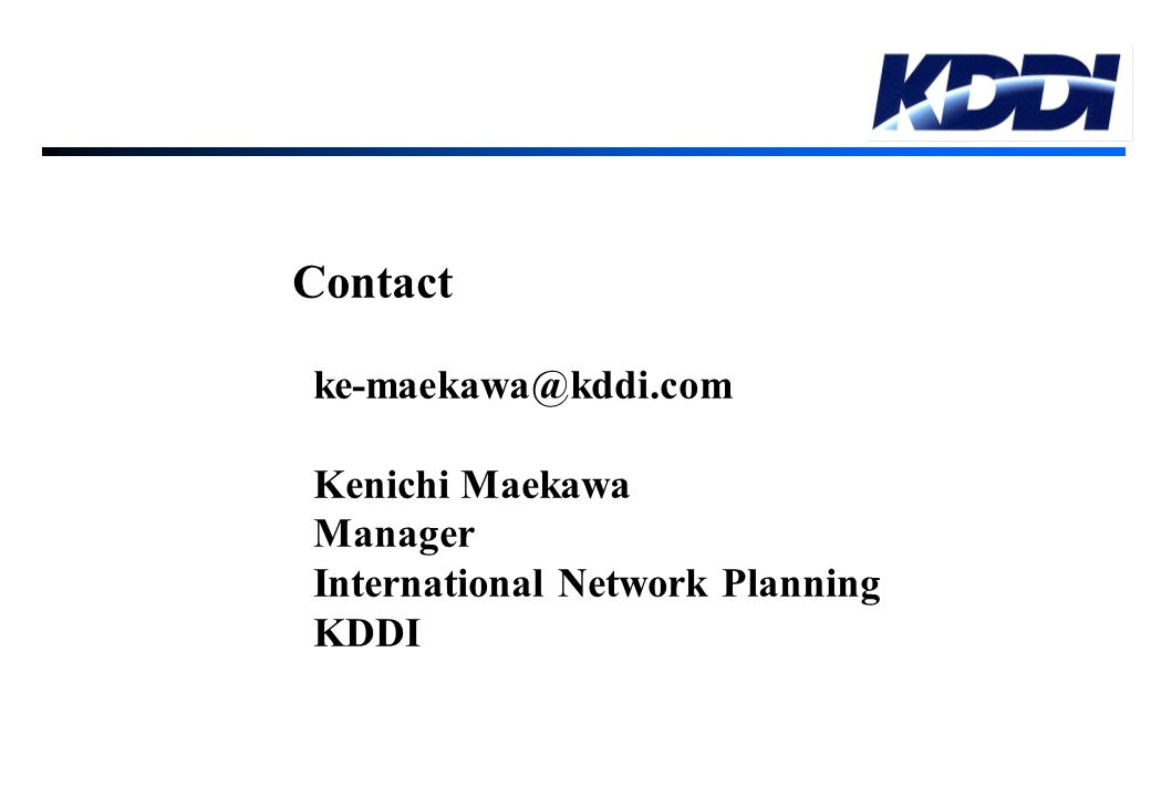 Contact Kenichi Maekawa Manager