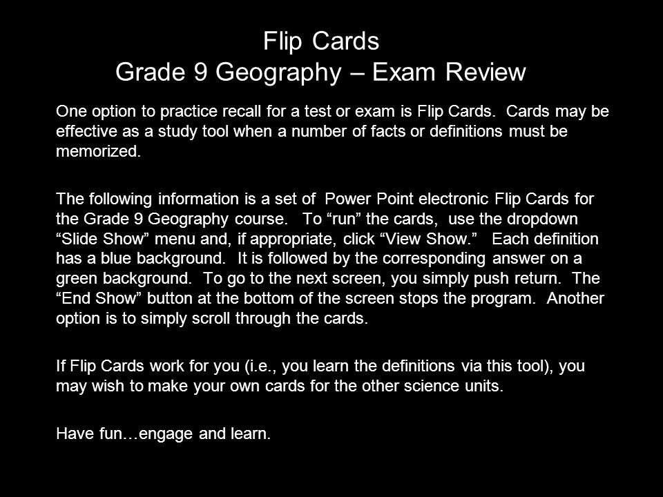 grade 9 geography final exam review Cgc1di geography of canada (grade 9 academic) contents 1course outline  2014-15 11unit 1: methods of geographic inquiry  exam review.