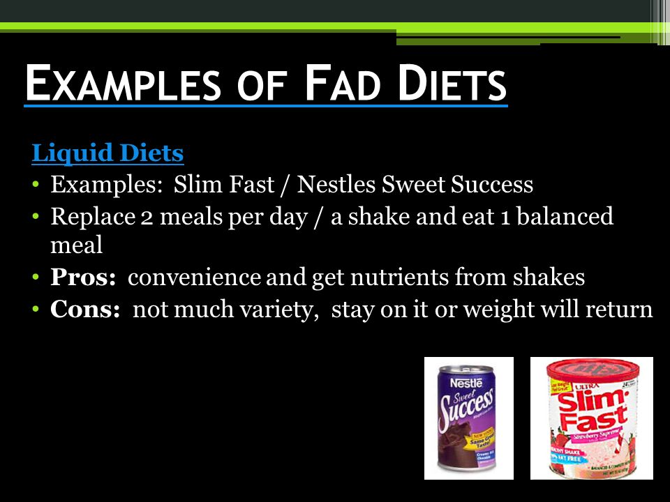 Examples Of Fad Diets Liquid