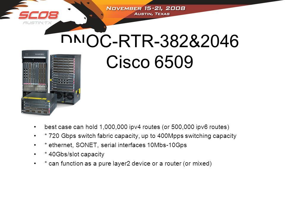 DNOC-RTR-382&2046 Cisco 6509 best case can hold 1,000,000 ipv4 routes (or 500,000 ipv6 routes)