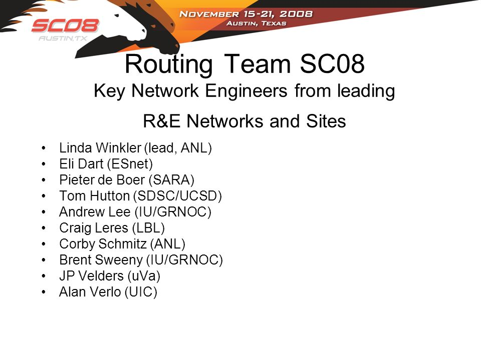 Routing Team SC08 Key Network Engineers from leading R&E Networks and Sites