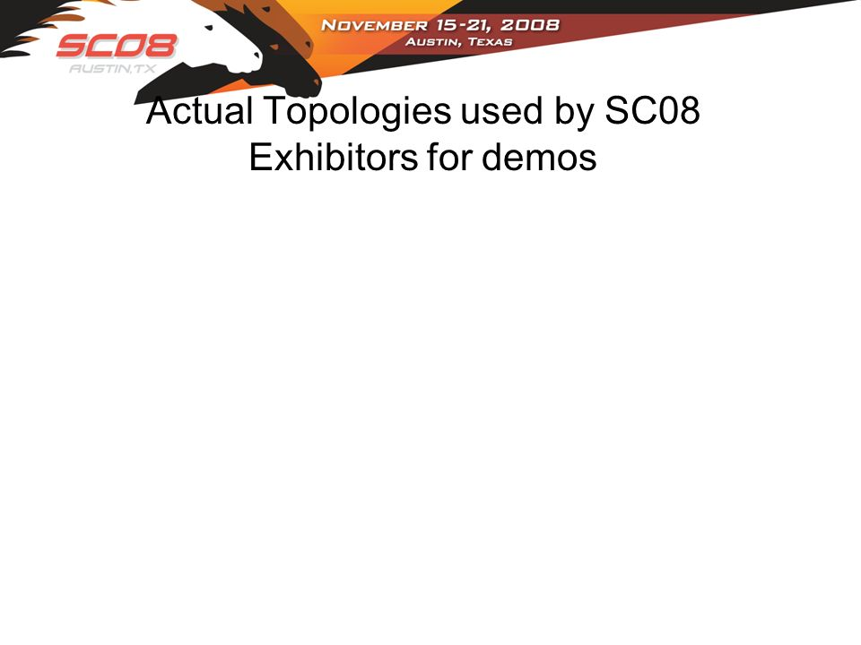 Actual Topologies used by SC08 Exhibitors for demos