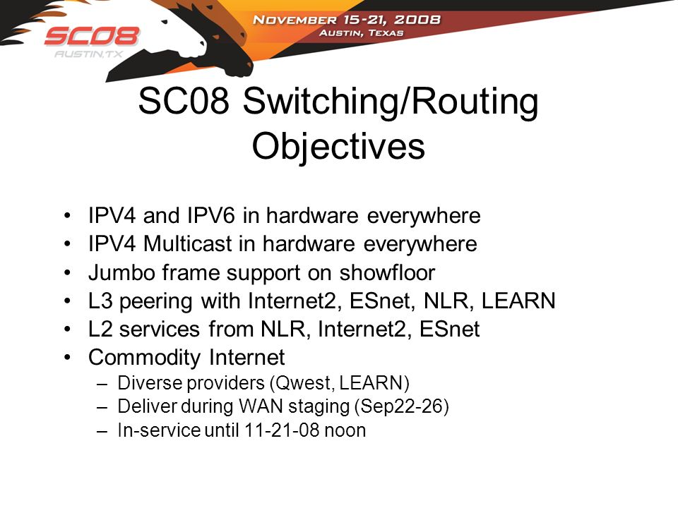 SC08 Switching/Routing Objectives