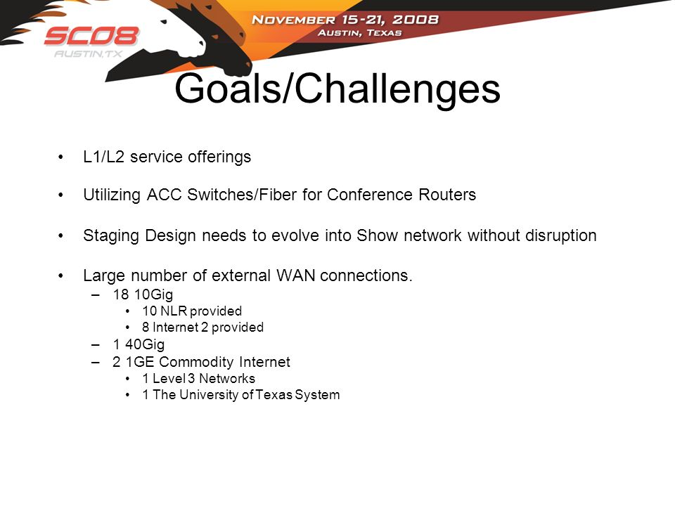 Goals/Challenges L1/L2 service offerings