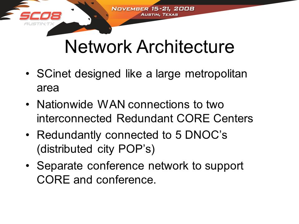 Network Architecture SCinet designed like a large metropolitan area