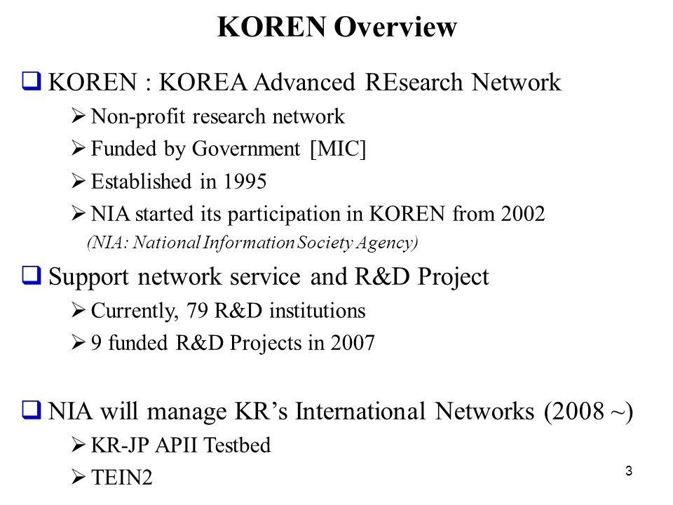 KOREN Overview KOREN : KOREA Advanced REsearch Network