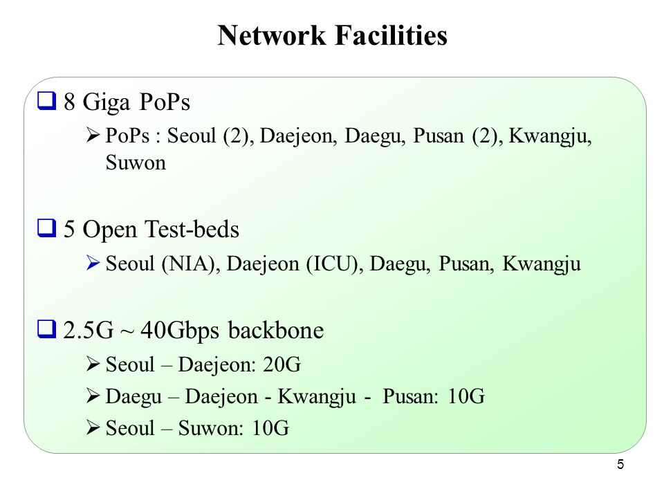 Network Facilities 8 Giga PoPs 5 Open Test-beds 2.5G ~ 40Gbps backbone