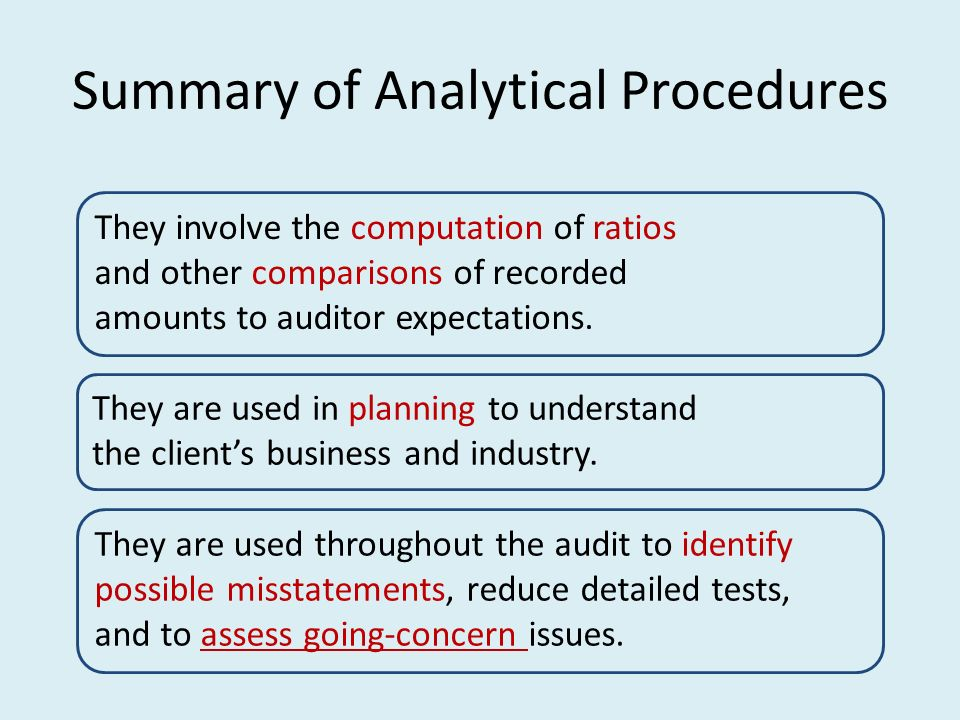 analytical procedures ratio analysis form The use of analytical procedures   auditors commonly use three broad types of analytical procedures (or methods) to form an expectation: 1  ratio analysis.