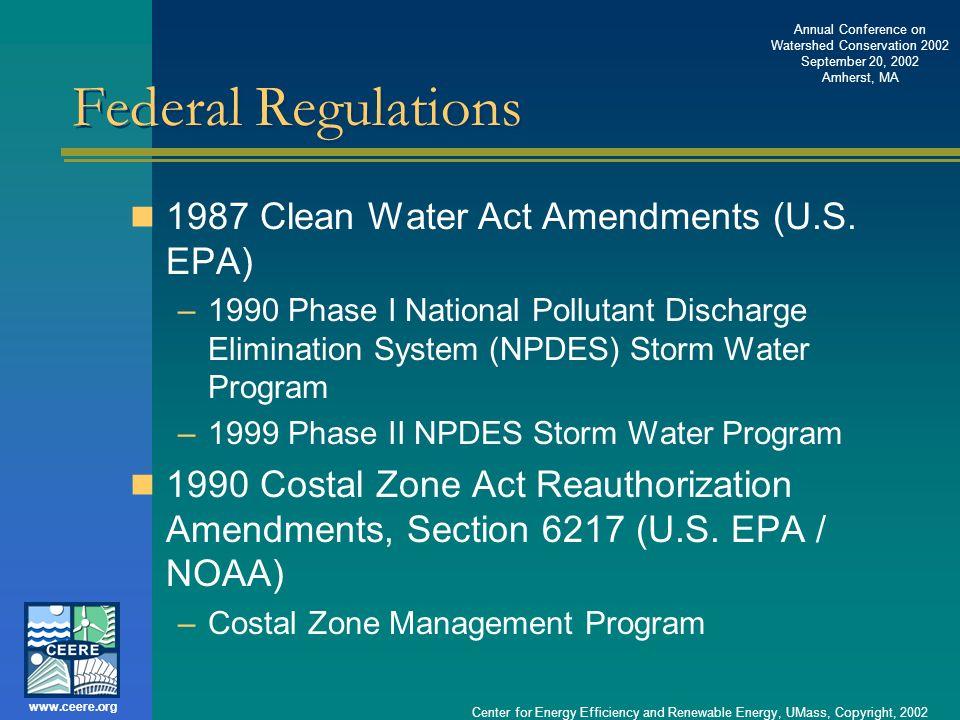 Federal Regulations 1987 Clean Water Act Amendments (U.S. EPA)