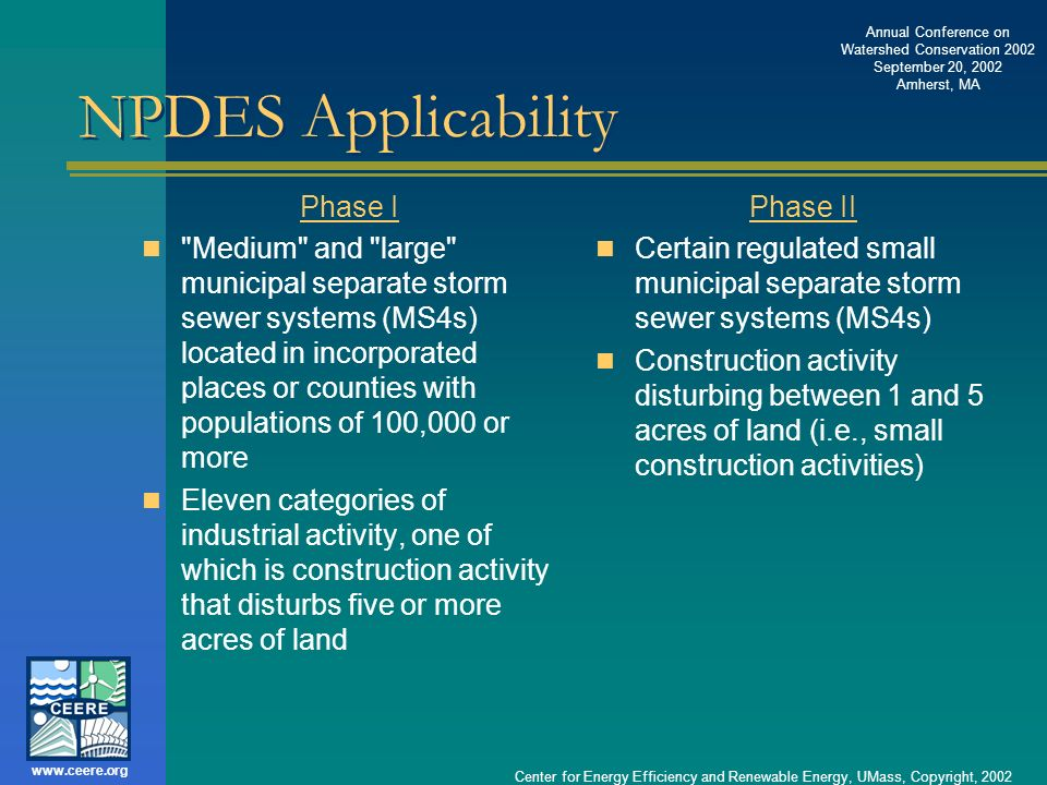NPDES Applicability Phase I
